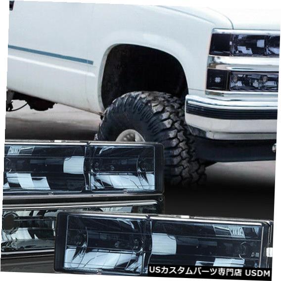 ヘッドライト 1994-2000シボレーC10 C / Kピックアップに適合[クローム/スモーク]アンバーコーナーヘッドライト+バンプ er Fits 1994-2000 Chevy C10 C/K Pickup [Chrome/Smoke] Amber Corner Headlight+Bumper