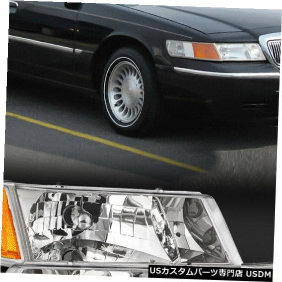 ヘッドライト 1998-2002マーキュリーグランドマーキスに適合[クローム/クリア]アンバーコーナーヘッドライトランプ Fits 1998-2002 Mercury Grand Marquis [Chrome/Clear] Amber Corner Headlight Lamp
