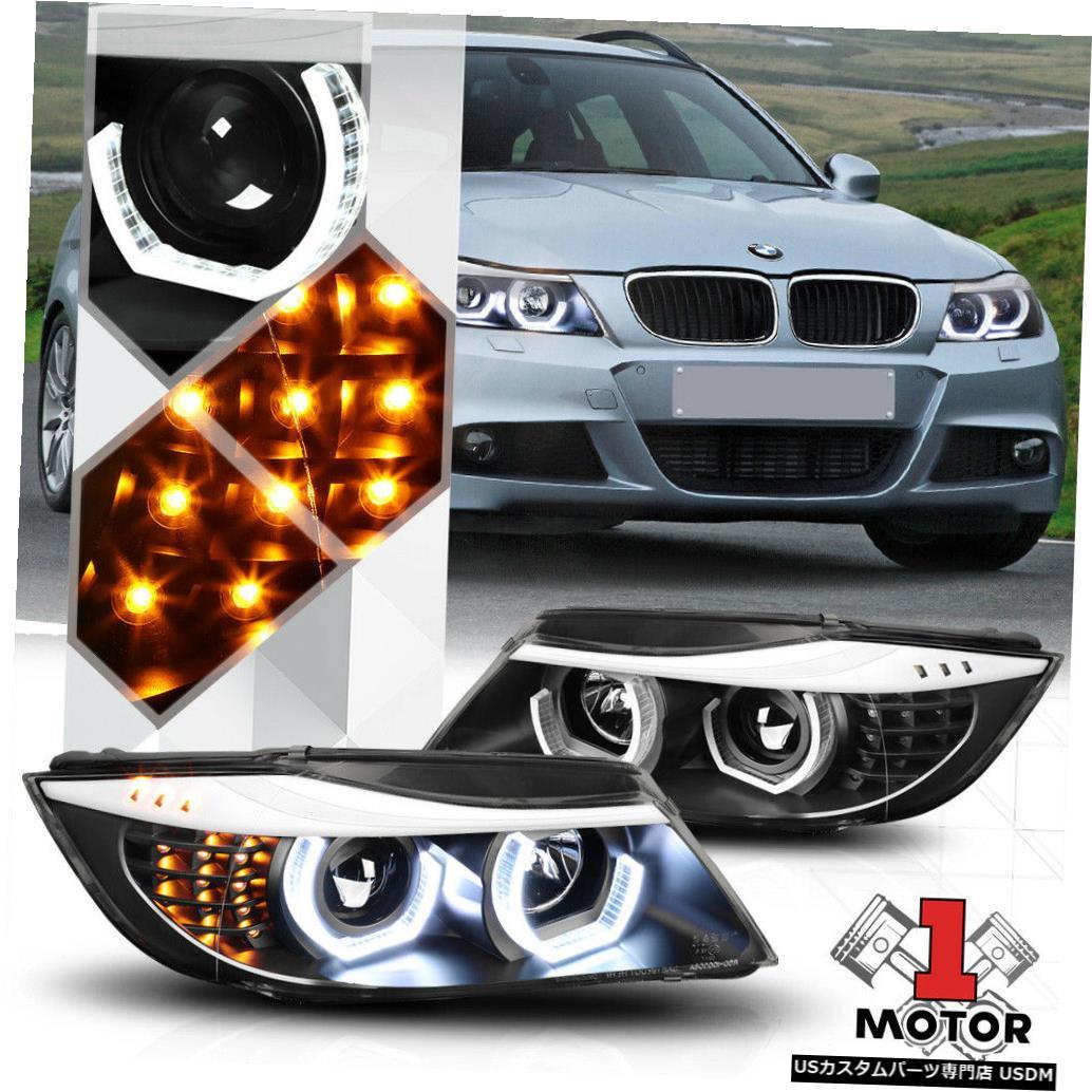 ヘッドライト 09-12 BMW E90 3シリーズ用ブラックデュアル3D LEDハロープロジェクターヘッドライトLED信号 Black Dual 3D LED Halo Projector Headlight LED Signal for 09-12 BMW E90 3-Series