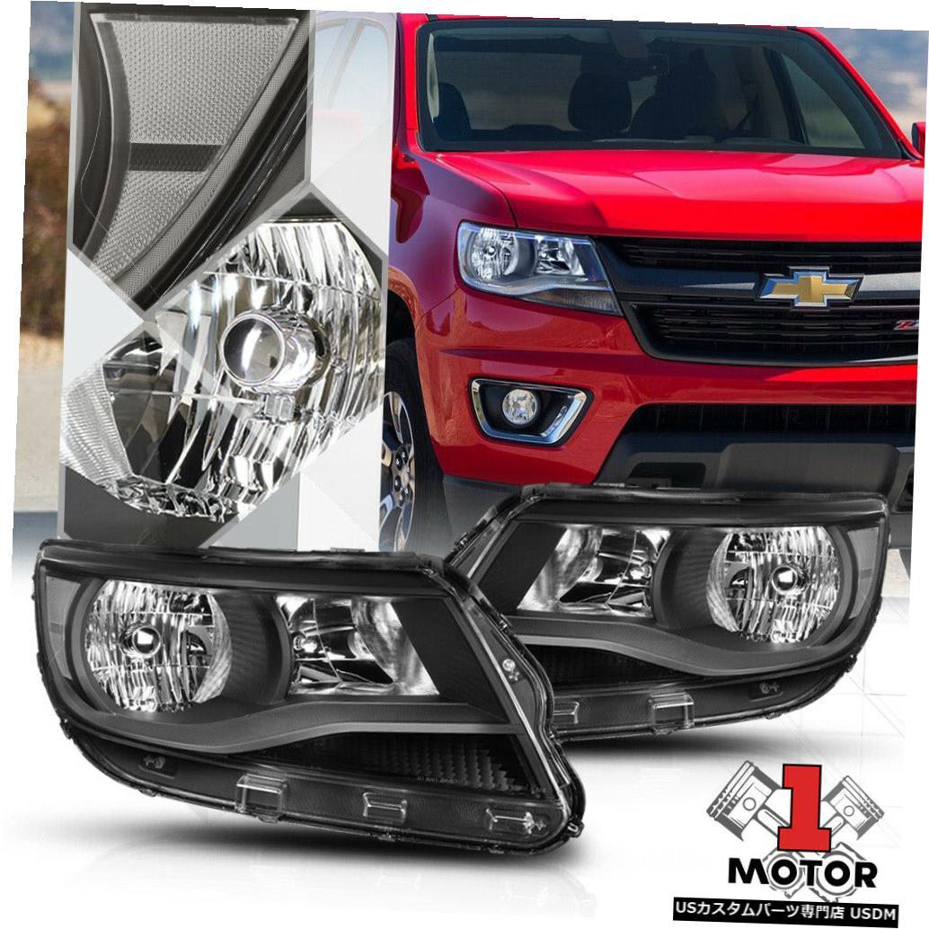 ヘッドライト 15-19シボレーコロラド用ブラックハウジングヘッドライトクリアコーナーシグナルリフレクター Black Housing Headlight Clear Corner Signal Reflector for 15-19 Chevy Colorado