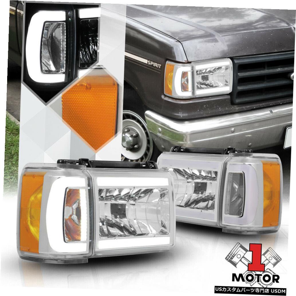 ヘッドライト 87-91 Bronco / F150 / F2 50のクロム* LED C-BAR DRL *ヘッドライト+アンバー rコーナー信号 Chrome *LED C-BAR DRL* Headlight+Amber Corner Signal for 87-91 Bronco/F150/F250