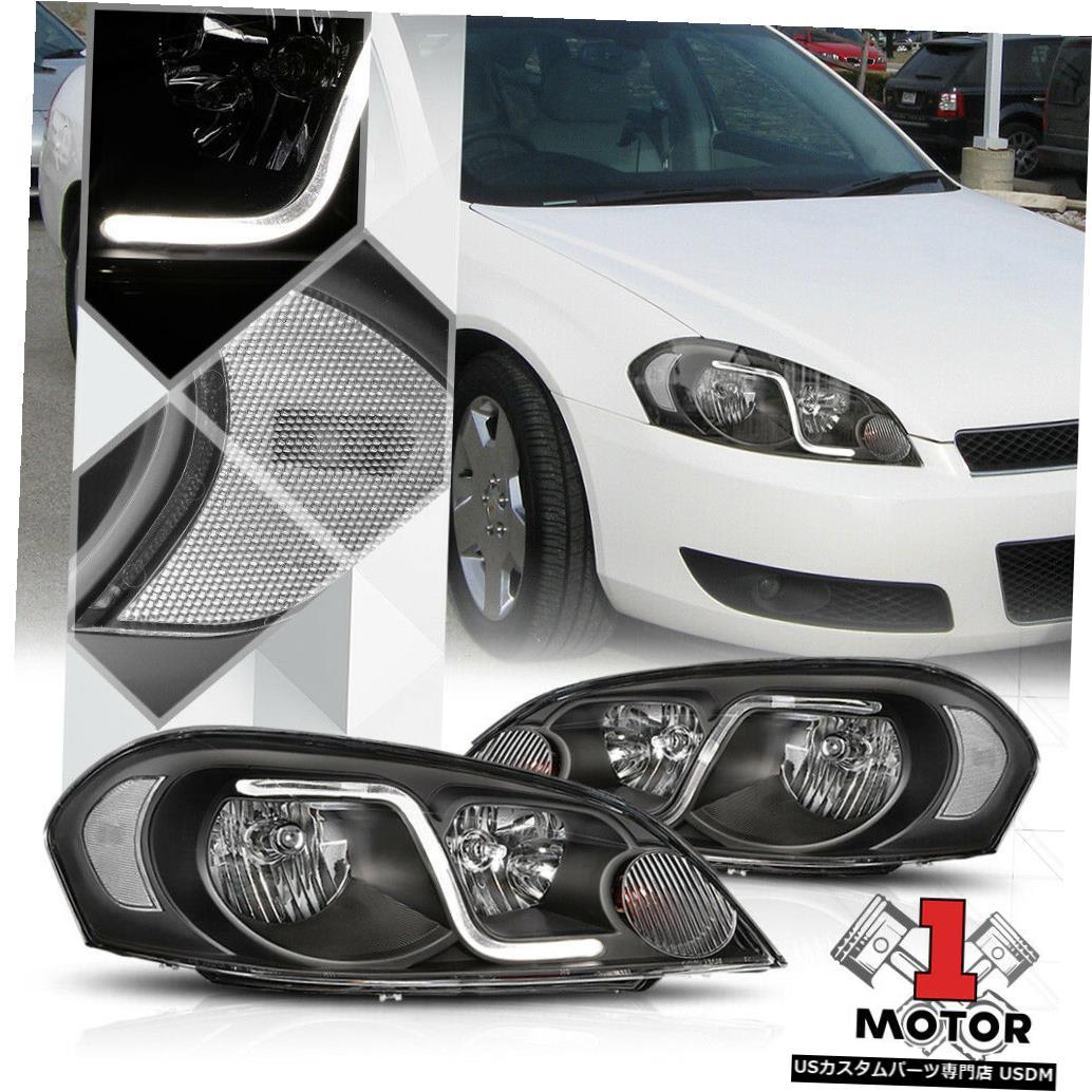 ヘッドライト 06-16シボレーインパラ/モンテカルロ用ブラックハウジングヘッドライトクリアシグナルLED DRL Black Housing Headlight Clear Signal LED DRL for 06-16 Chevy Impala/Monte Carlo