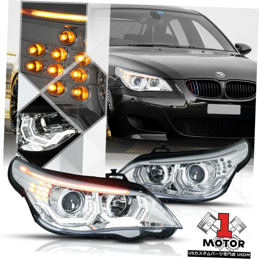 ヘッドライト 04-07 BMW E60 5シリーズ用Chromeデュアル[3D HALO]プロジェクターヘッドライトLED信号 Chrome Dual [3D HALO] Projector Headlight LED Signal for 04-07 BMW E60 5-Series