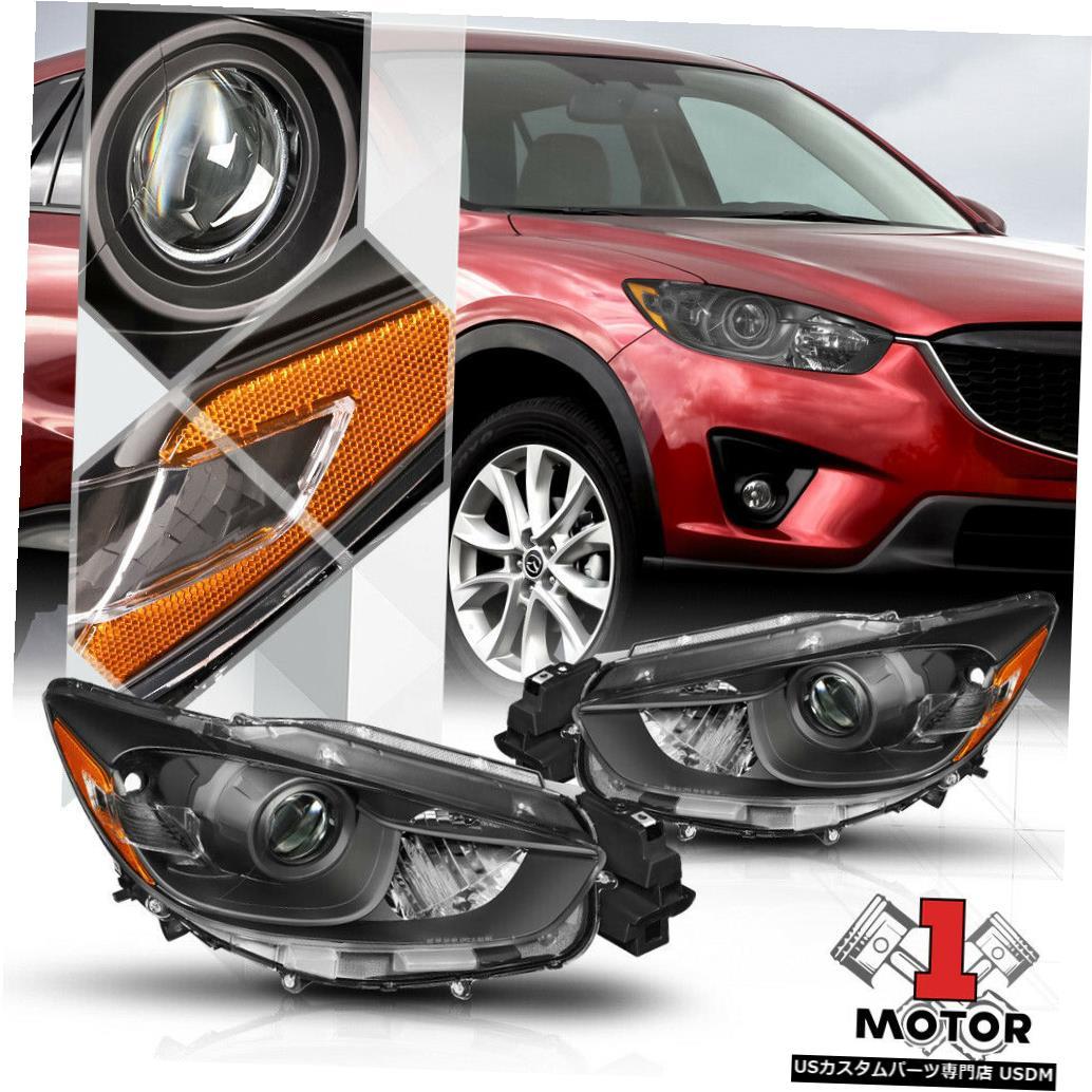 ヘッドライト 13-16マツダCX5用ブラックプロジェクターヘッドライトランプアンバーコーナーシグナルリフレクター Black Projector Headlight Lamp Amber Corner Signal Reflector for 13-16 Mazda CX5