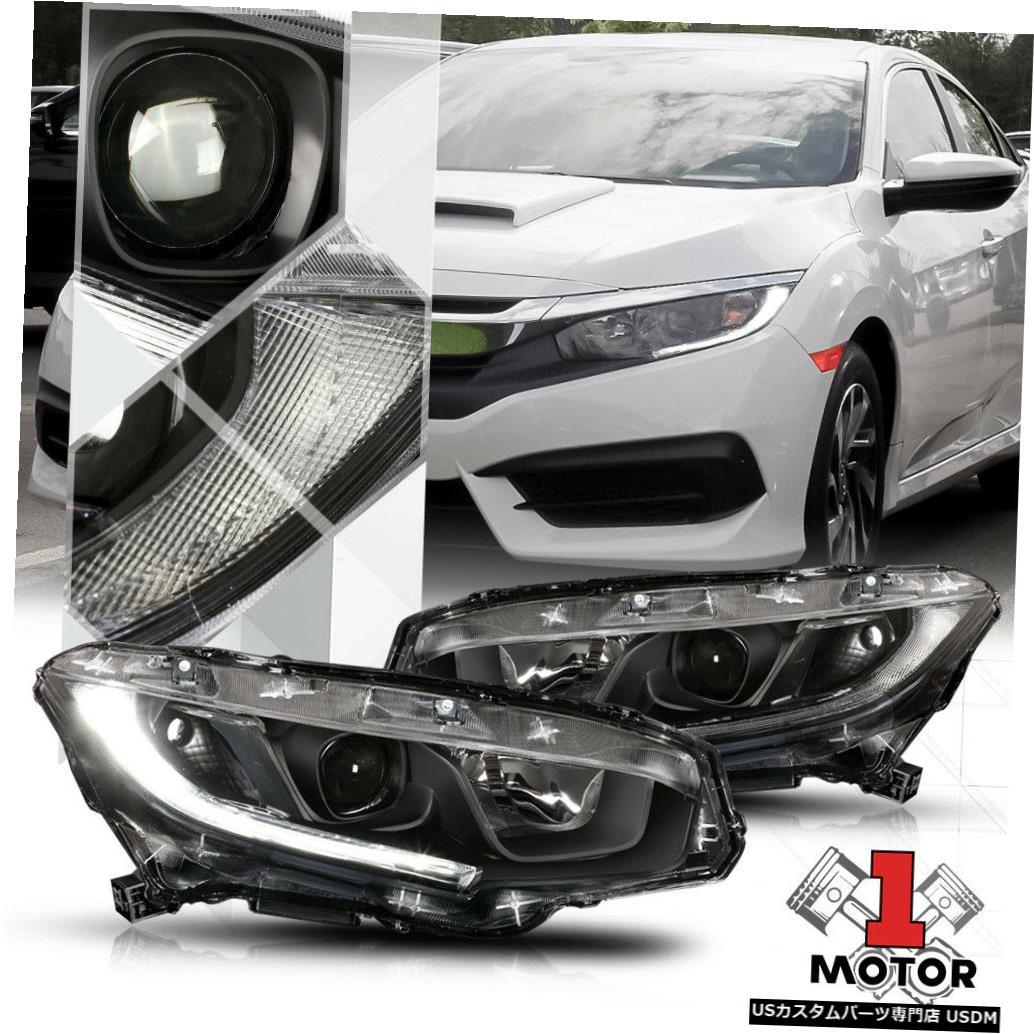 激安/新作 ヘッドライト 16 16/18/18 Honda Civic用ブラック/クリア* Honda Headlight LEDストリップDRL*プロジェクターヘッドライトライトランプ Black/Clear*LED Strip DRL* Projector Headlight Light Lamp for 16-18 Honda Civic, リビングプラザ:523733b4 --- aptapi.tarjetaferia.com.mx