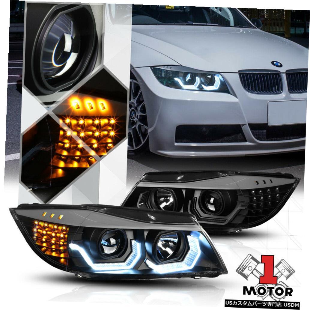 車用品 バイク用品 >> パーツ ライト ランプ 商い ヘッドライト ブラック DUAL 3D U-HALO E90 Projector 06-08 Signal for BMW LED 優先配送 Headlight Black 3シリーズ用プロジェクターヘッドライトLED信号 3-Series