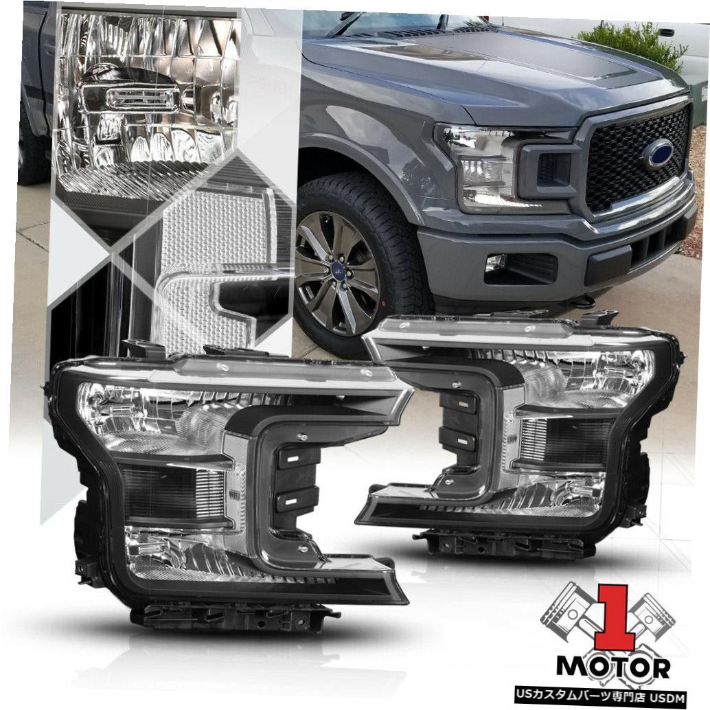 ヘッドライト 18-19フォードF150のブラックハウジング交換ヘッドライトクリアシグナルリフレクター Black Housing Replacement Headlight Clear Signal Reflector for 18-19 Ford F150