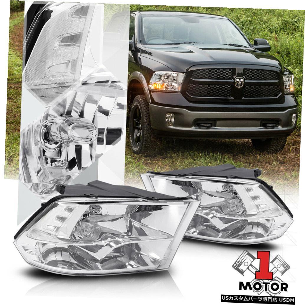 ヘッドライト 09-18ダッジラム用クロームハウジングクアッドヘッドライトクリアコーナーシグナルリフレクター Chrome Housing Quad Headlight Clear Corner Signal Reflector for 09-18 Dodge Ram