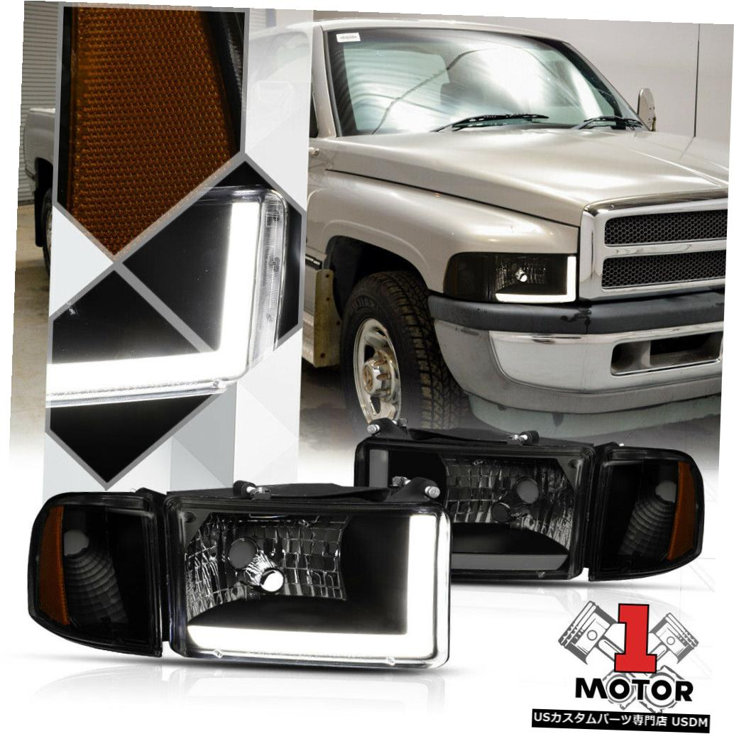 ヘッドライト 94-02ダッジラム1500/2500用ブラック/スモークヘッドライトLED DRL +アンバーコーナーシグナル Black/Smoke Headlight LED DRL+Amber Corner Signal for 94-02 Dodge Ram 1500/2500