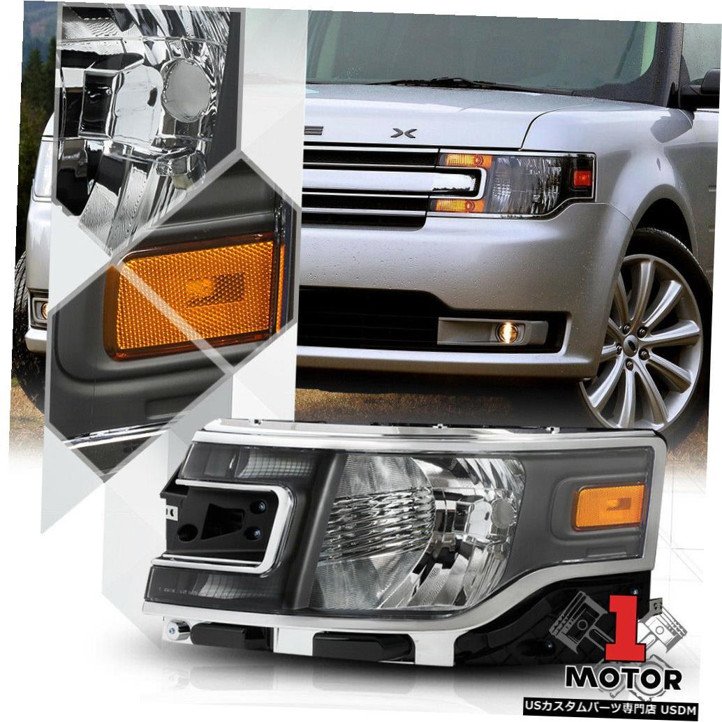 ヘッドライト 13-19フォードフレックス用左LHドライバーサイドブラックヘッドライトヘッドランプランプアセンブリ Left LH Driver Side Black Headlight Headlamp Lamp Assembly for 13-19 Ford Flex