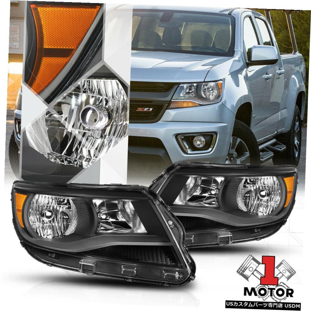 ヘッドライト 15-19シボレーコロラド州の黒いハウジングヘッドライトアンバーコーナー信号リフレクター Black Housing Headlight Amber Corner Signal Reflector for 15-19 Chevy Colorado