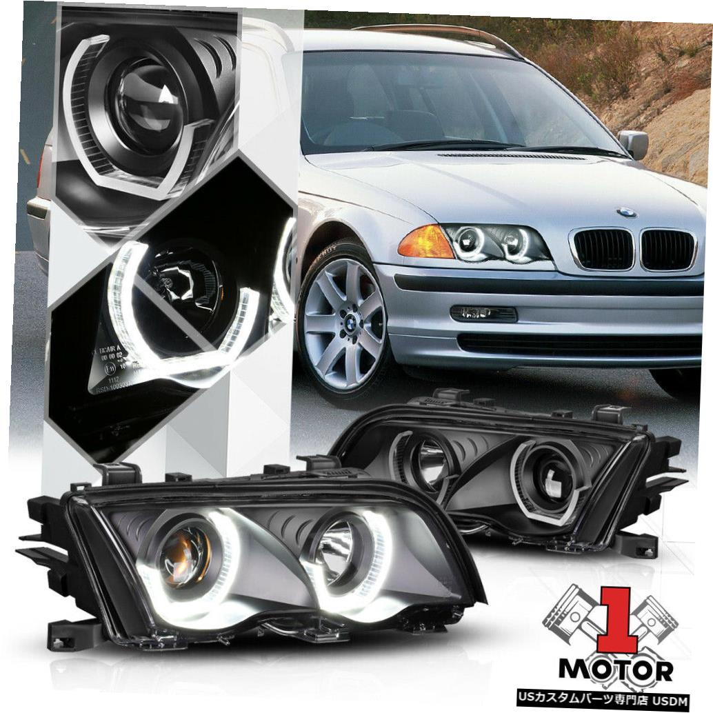 ヘッドライト 99-01 BMW E46 3シリーズ用ブラックデュアル3D LED Halo [ANGEL EYE]プロジェクターヘッドライト Black Dual 3D LED Halo[ANGEL EYE]Projector Headlight for 99-01 BMW E46 3-Series