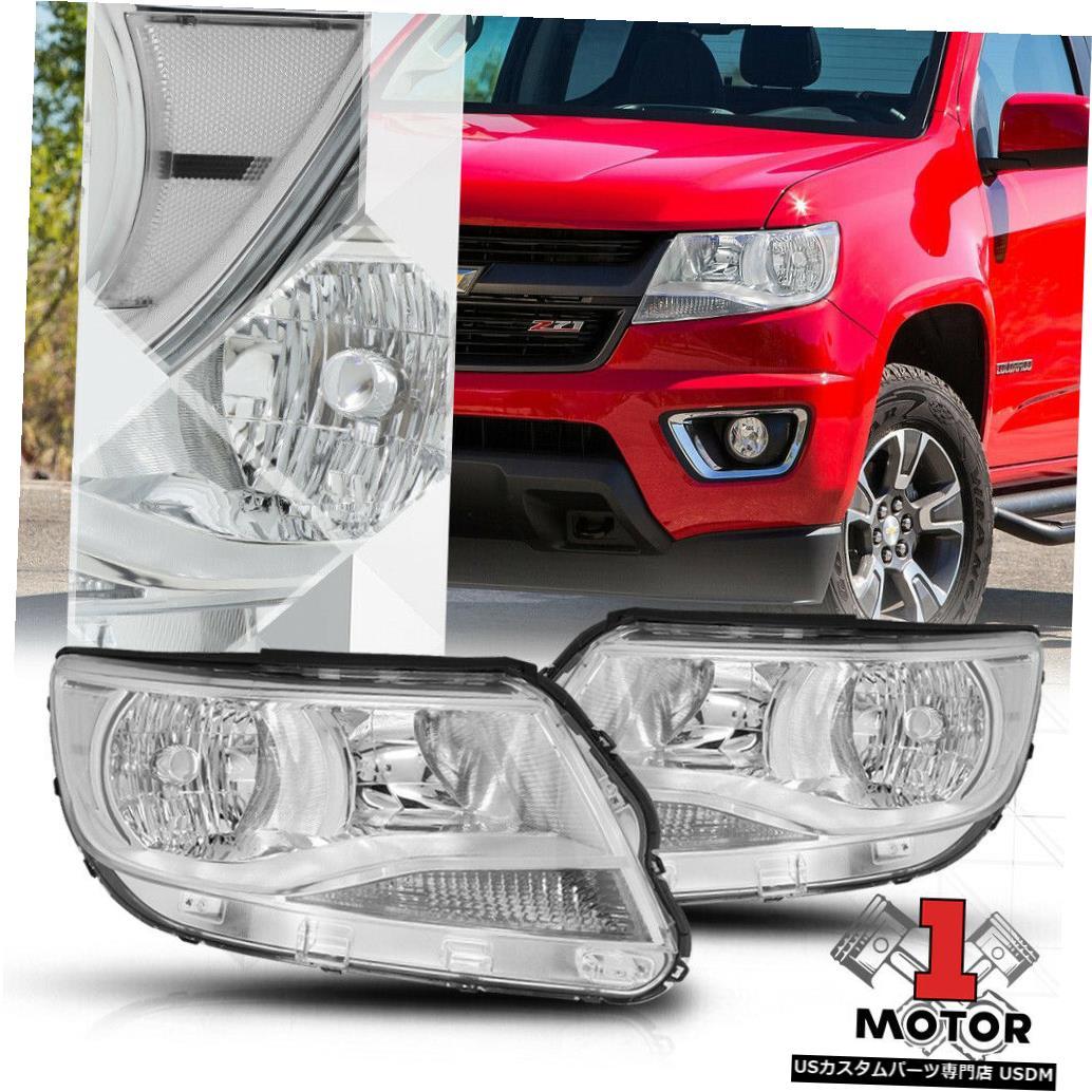 ヘッドライト 15-19シボレーコロラド用クロームハウジングヘッドライトクリアコーナーシグナルリフレクター Chrome Housing Headlight Clear Corner Signal Reflector for 15-19 Chevy Colorado