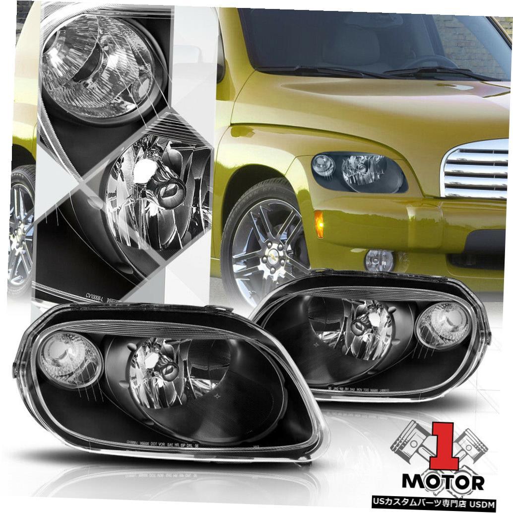 ヘッドライト 06-11シボレーHHR用ブラックハウジングヘッドライトランプクリアターンシグナルリフレクター Black Housing Headlight Lamp Clear Turn Signal Reflector for 06-11 Chevy HHR