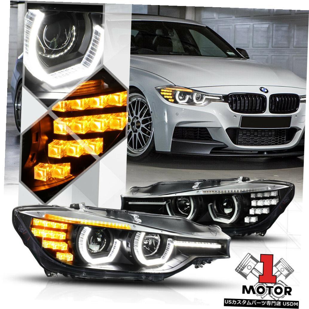 ヘッドライト 12-16 BMW F30 / F31 3シリーズ用ブラックデュアル[3D HALO]プロジェクターヘッドライトLED信号 Black Dual[3D HALO]Projector Headlight LED Signal for 12-16 BMW F30/F31 3-Series