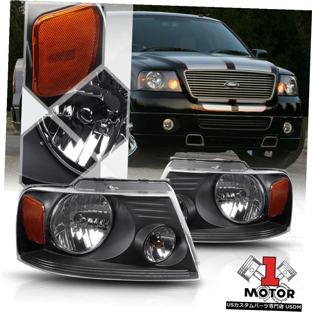 ヘッドライト 04-08 F150 / Mark LT用のブラックハウジングヘッドライトアンバーコーナーリフレクターOE装備 Black Housing Headlight Amber Corner Reflector OE Fitment for 04-08 F150/Mark LT