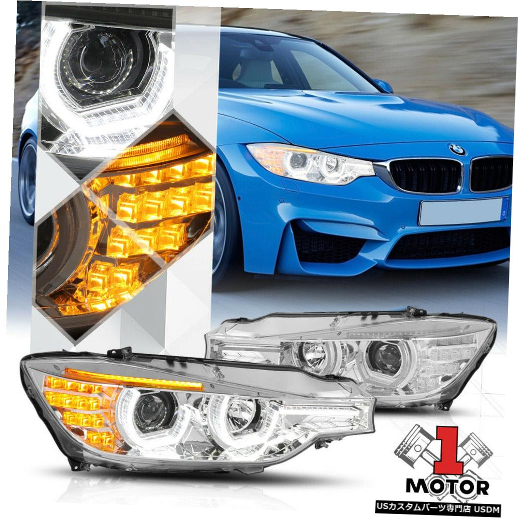 ヘッドライト 12-16 BMW F30 / F31 3シリーズ用Chromeデュアル[3D HALO]プロジェクターヘッドライトLED DRL Chrome Dual [3D HALO] Projector Headlight LED DRL for 12-16 BMW F30/F31 3-Series