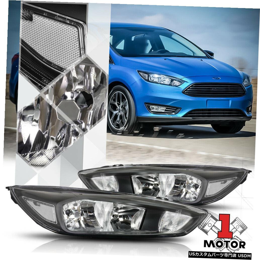 ヘッドライト 15-18フォードフォーカス用ブラックハウジングヘッドライトクリアレンズターンシグナルリフレクター Black Housing Headlight Clear Lens Turn Signal Reflector for 15-18 Ford Focus