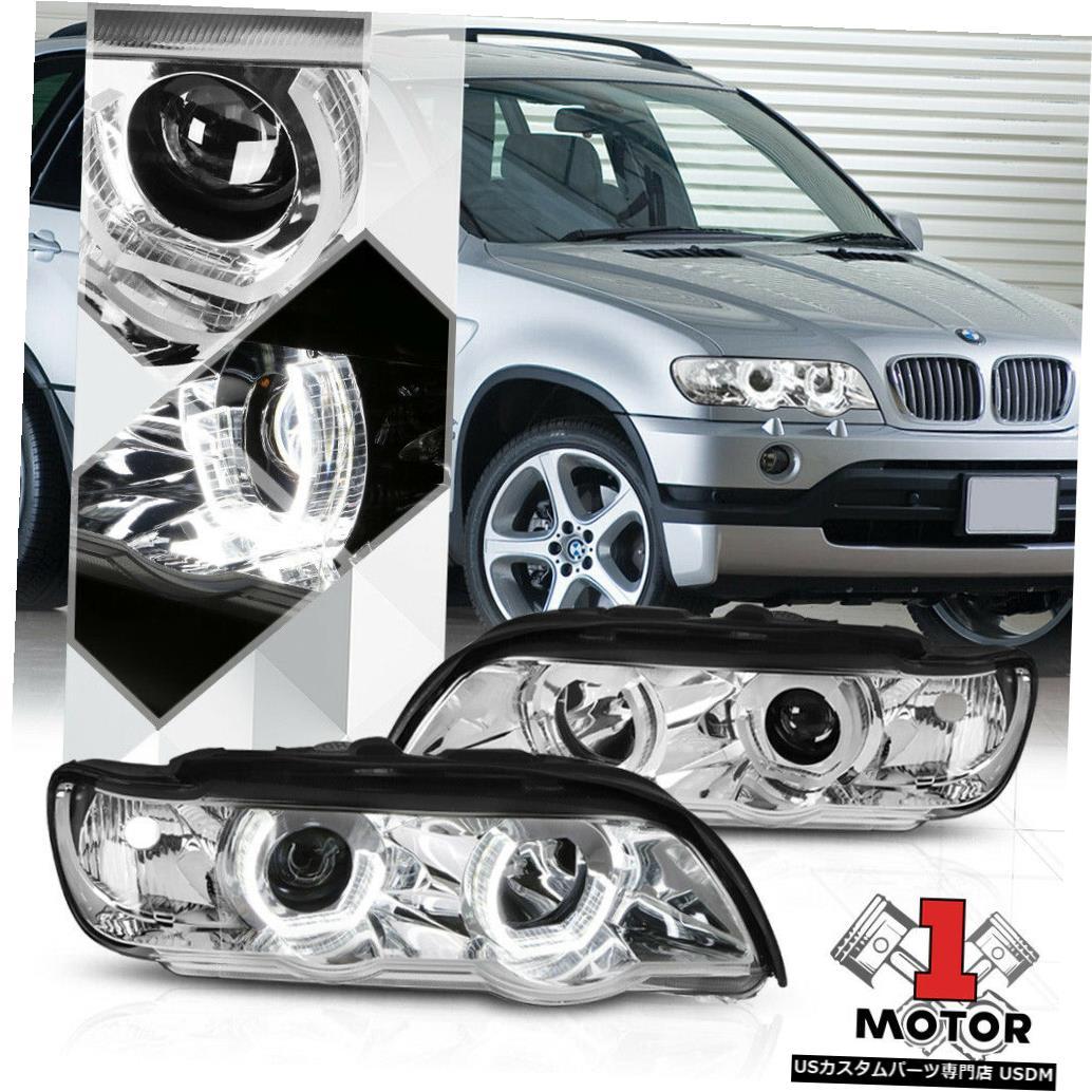 ヘッドライト クロームデュアル3D LED Halo [ANGEL EYE] 00-03 BMW E53 X5用DRLプロジェクターヘッドライト Chrome Dual 3D LED Halo [ANGEL EYE] DRL Projector Headlight for 00-03 BMW E53 X5