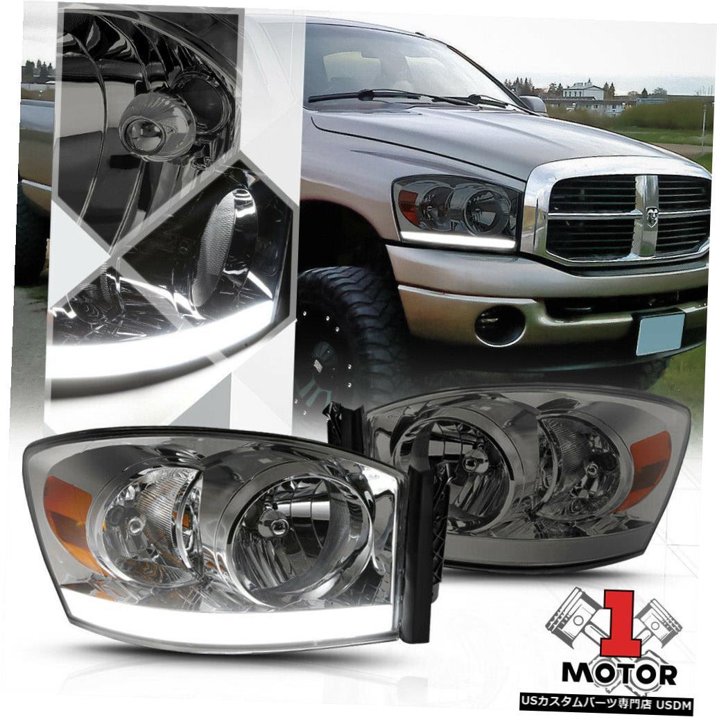 ヘッドライト 06-09ダッジラム1500/2500/3500のスモークティンテッドヘッドライトLED DRLアンバーシグナル Smoke Tinted Headlight LED DRL Amber Signal for 06-09 Dodge Ram 1500/2500/3500