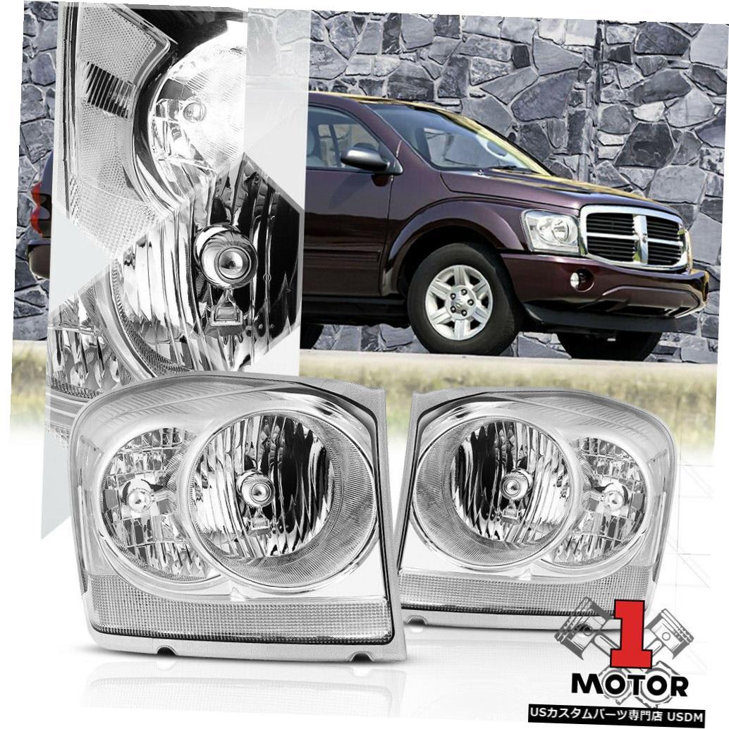ヘッドライト 04-06ダッジデュランゴ用クロームハウジングヘッドライトクリアターンシグナルリフレクター Chrome Housing Headlight Clear Turn Signal Reflector for 04-06 Dodge Durango