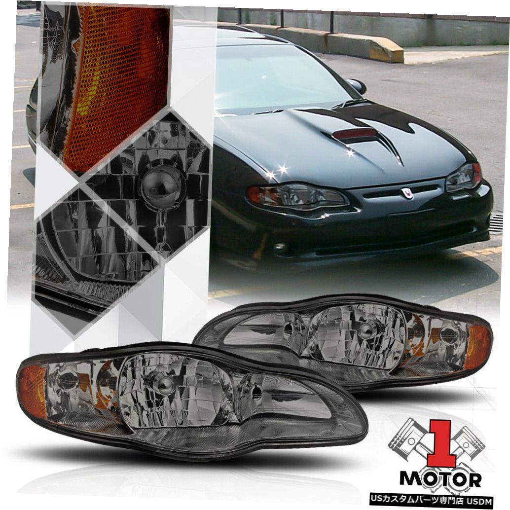 ヘッドライト 00-05シェビーモンテカルロ用スモークティンテッドヘッドライトアンバーターンシグナルリフレクター Smoke Tinted Headlight Amber Turn Signal Reflector for 00-05 Chevy Monte Carlo