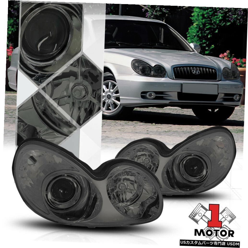 ヘッドライト 02-05 Sonata用クロームハウジングプロジェクターヘッドライトスモークレンズOE交換 Chrome Housing Projector Headlight Smoked Lens OE Replacement for 02-05 Sonata