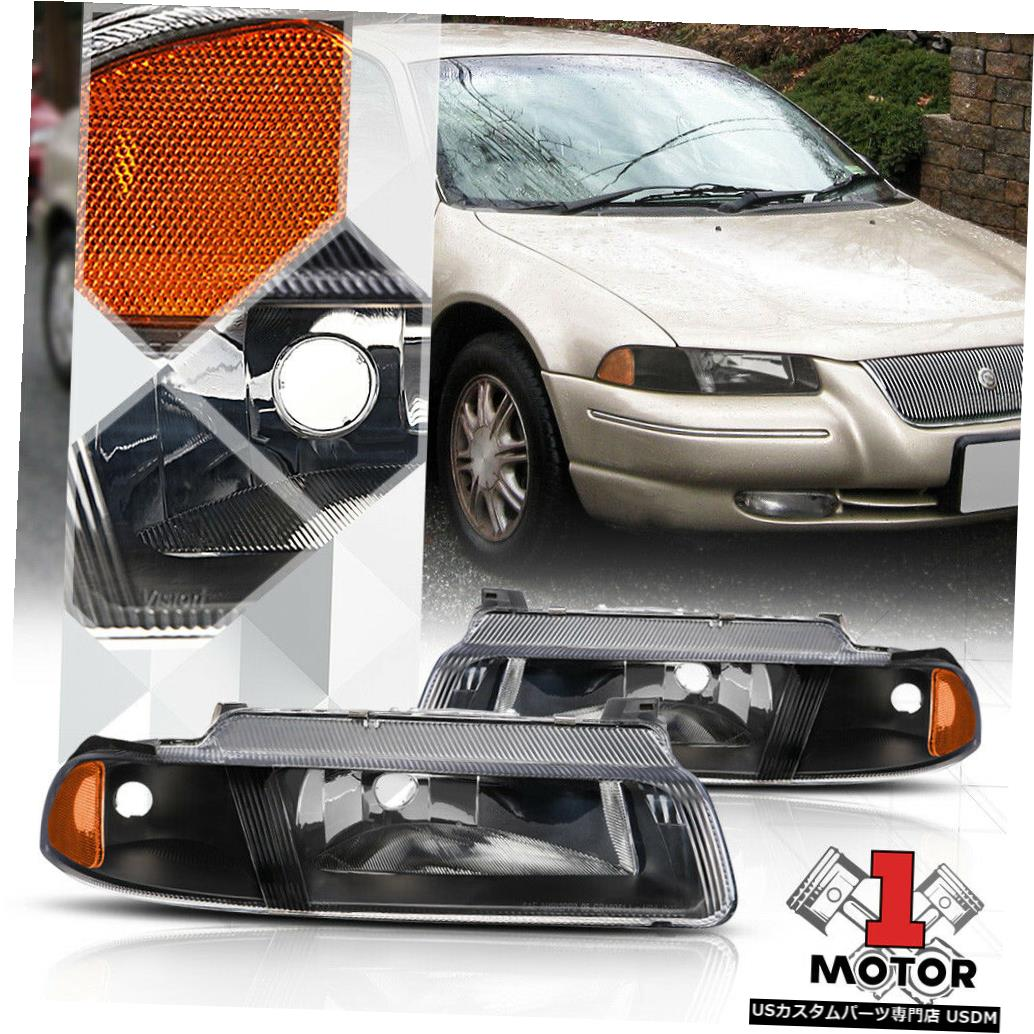 ヘッドライト 95-00 Cirrus / Stratus / Breeze用ブラックハウジングヘッドライトアンバーシグナルリフレクター Black Housing Headlight Amber Signal Reflector for 95-00 Cirrus/Stratus/Breeze