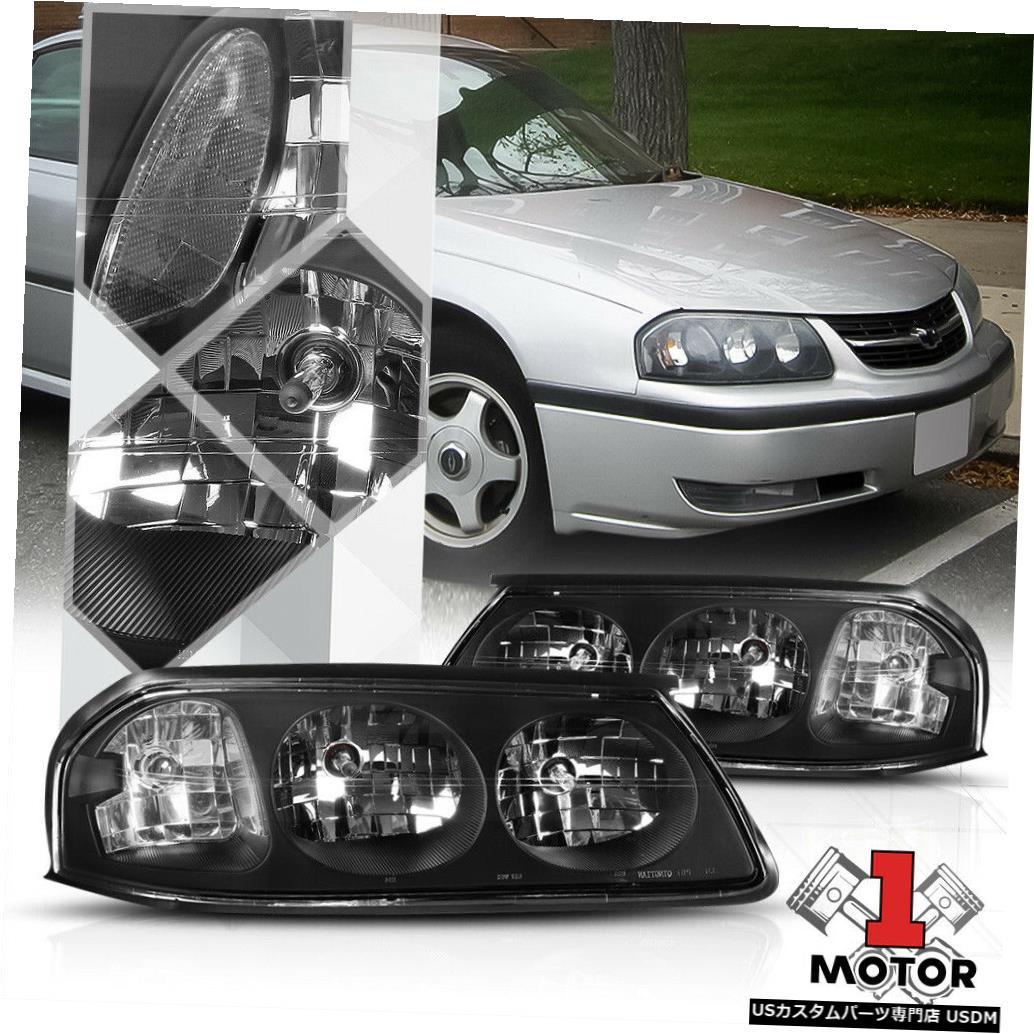 ヘッドライト 00-05シェビーインパラ用ブラックハウジングヘッドライトクリアコーナーシグナルリフレクター Black Housing Headlight Clear Corner Signal Reflector for 00-05 Chevy Impala