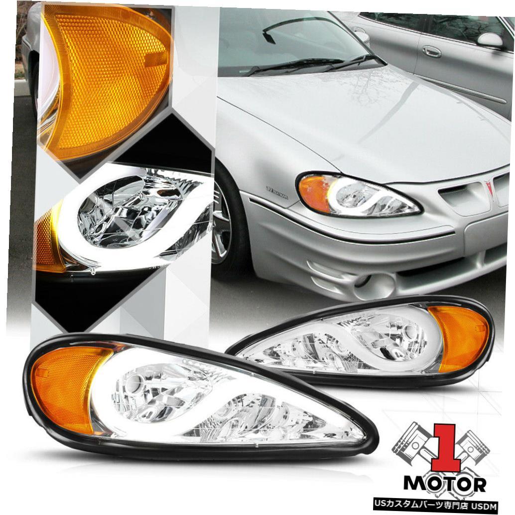ヘッドライト クロム/クリア* L EDライトバーDRL * 99-05ポンティアックグランドアムのヘッドライトアンバー信号 Chrome/Clear*LED LIGHT BAR DRL*Headlight Amber Signal for 99-05 Pontiac Grand Am