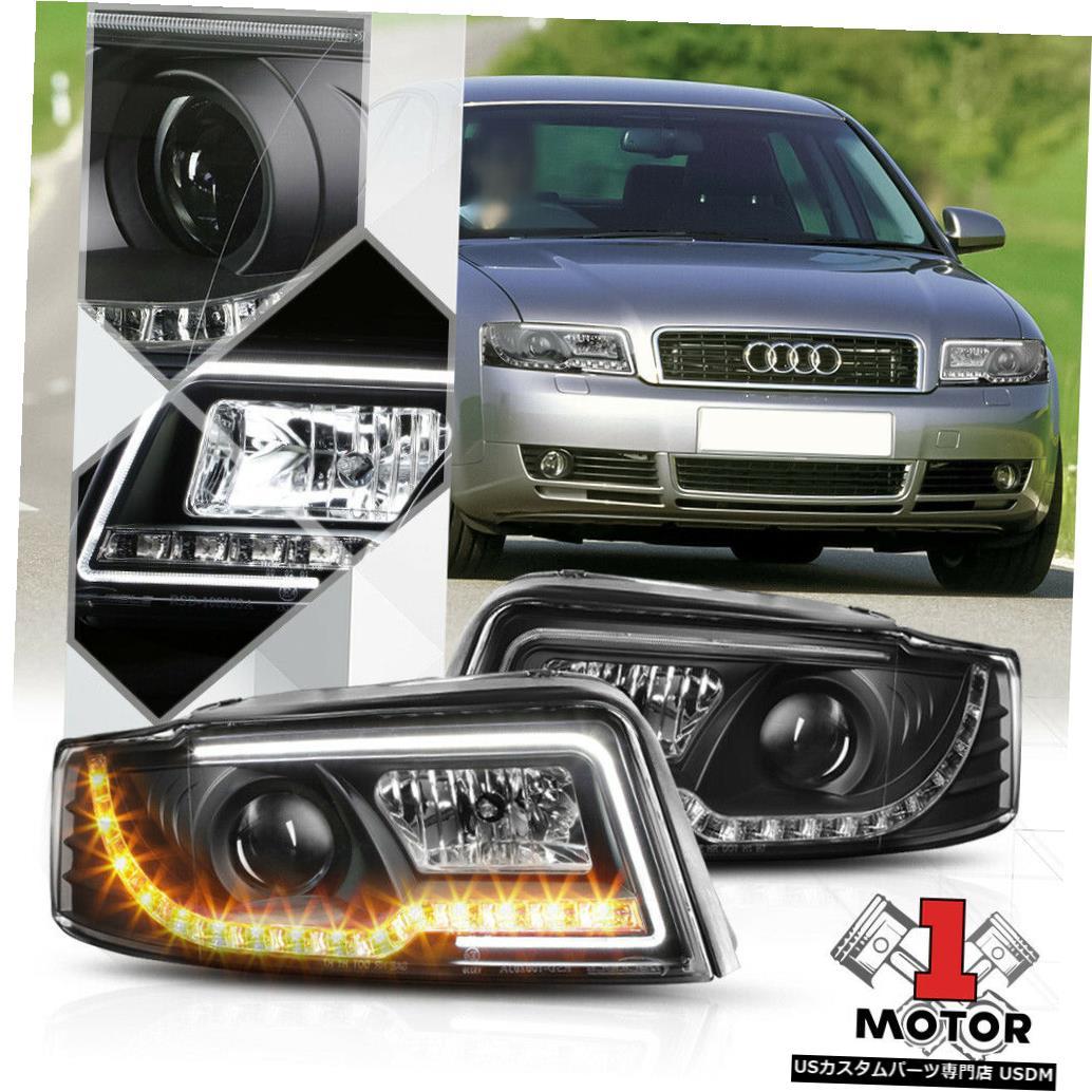 ヘッドライト 02-05アウディS4 / A4 B6用ブラックプロジェクターヘッドライトホワイトDRLアンバーLED信号 Black Projector Headlight White DRL Amber LED Signal for 02-05 Audi S4/A4 B6