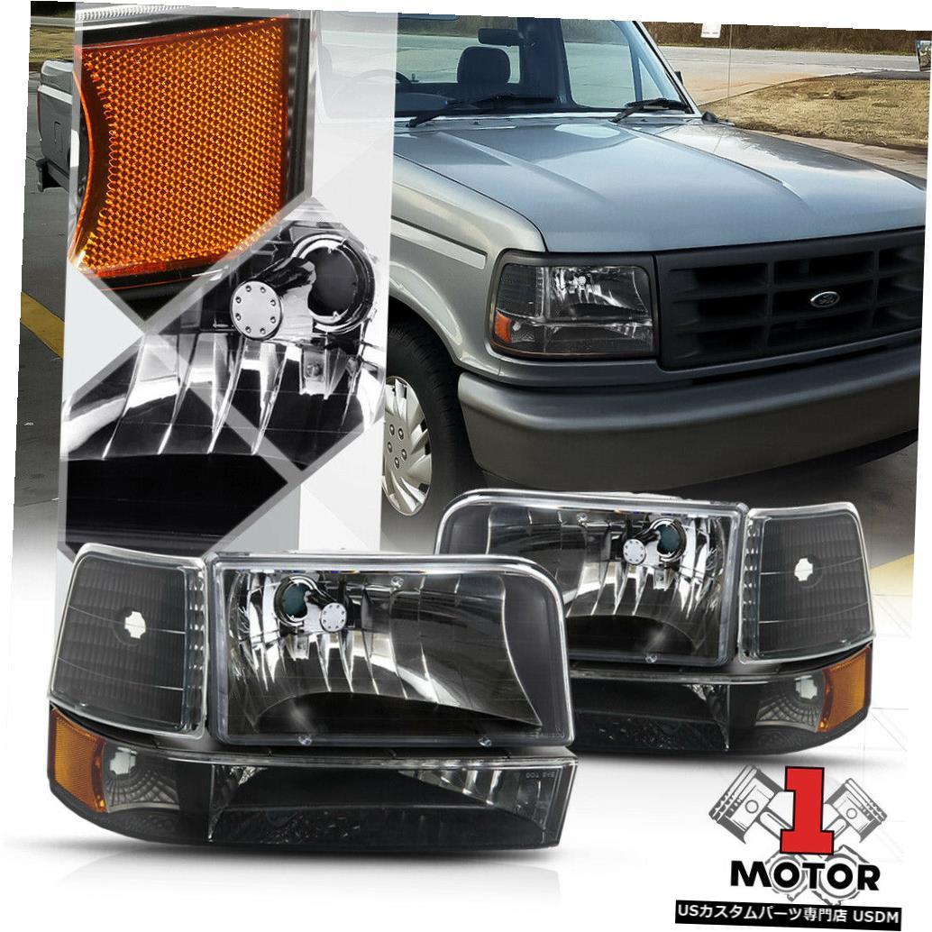ヘッドライト 92-96 F150 / F250 / F350 / Bronco用ブラックハウジングヘッドライトアンバーコーナーリフレクター Black Housing Headlight Amber Corner Reflector for 92-96 F150/F250/F350/Bronco