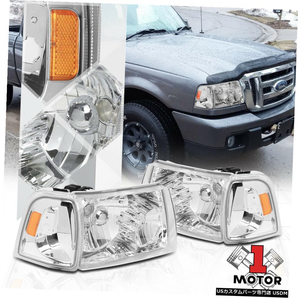 ヘッドライト クロームハウジングヘッドライトアンバーコーナーシグナルリフレクター01-11フォードレンジャー用 Chrome Housing Headlight Amber Corner Signal Reflector for 01-11 Ford Ranger