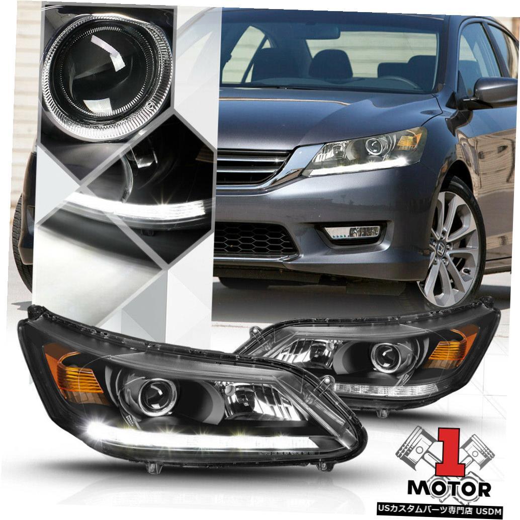 ヘッドライト 13-15ホンダアコード用の黒いプロジェクターヘッドライトランプLEDストリップDRL Signal信号 Black Projector Headlight Lamp LED Strip DRL Amber Signal for 13-15 Honda Accord