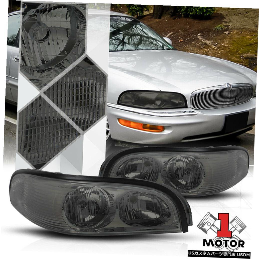 ヘッドライト 97-05ビュイックパークアベニューのクロームハウジング煙レンズヘッドライトランプターンシグナル Chrome Housing Smoke Lens Headlight Lamp Turn Signal for 97-05 Buick Park Avenue
