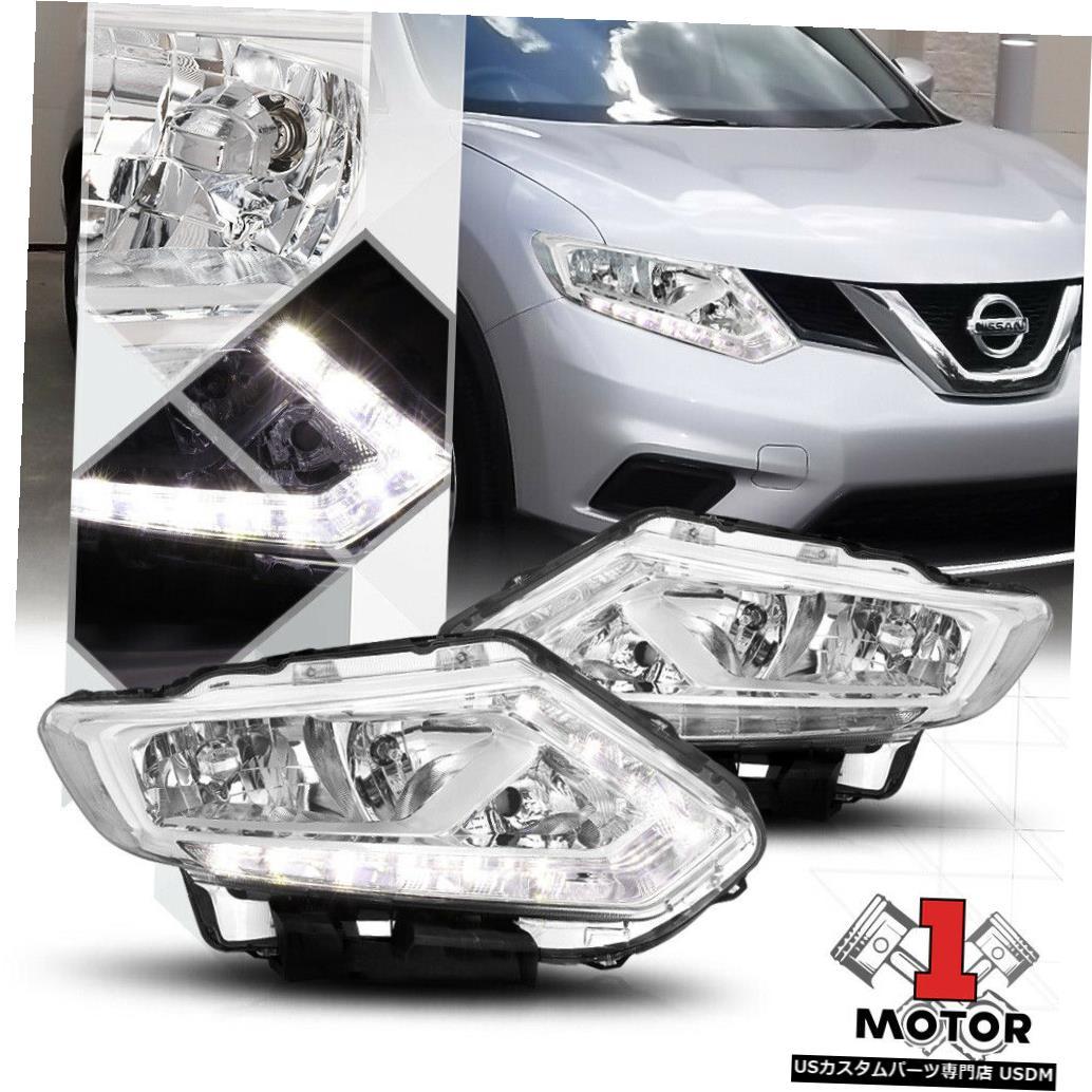ヘッドライト 14-16日産ローグのクロームハウジングヘッドライトLEDストリップDRLクリアターンシグナル Chrome Housing Headlight LED Strip DRL Clear Turn Signal for 14-16 Nissan Rogue
