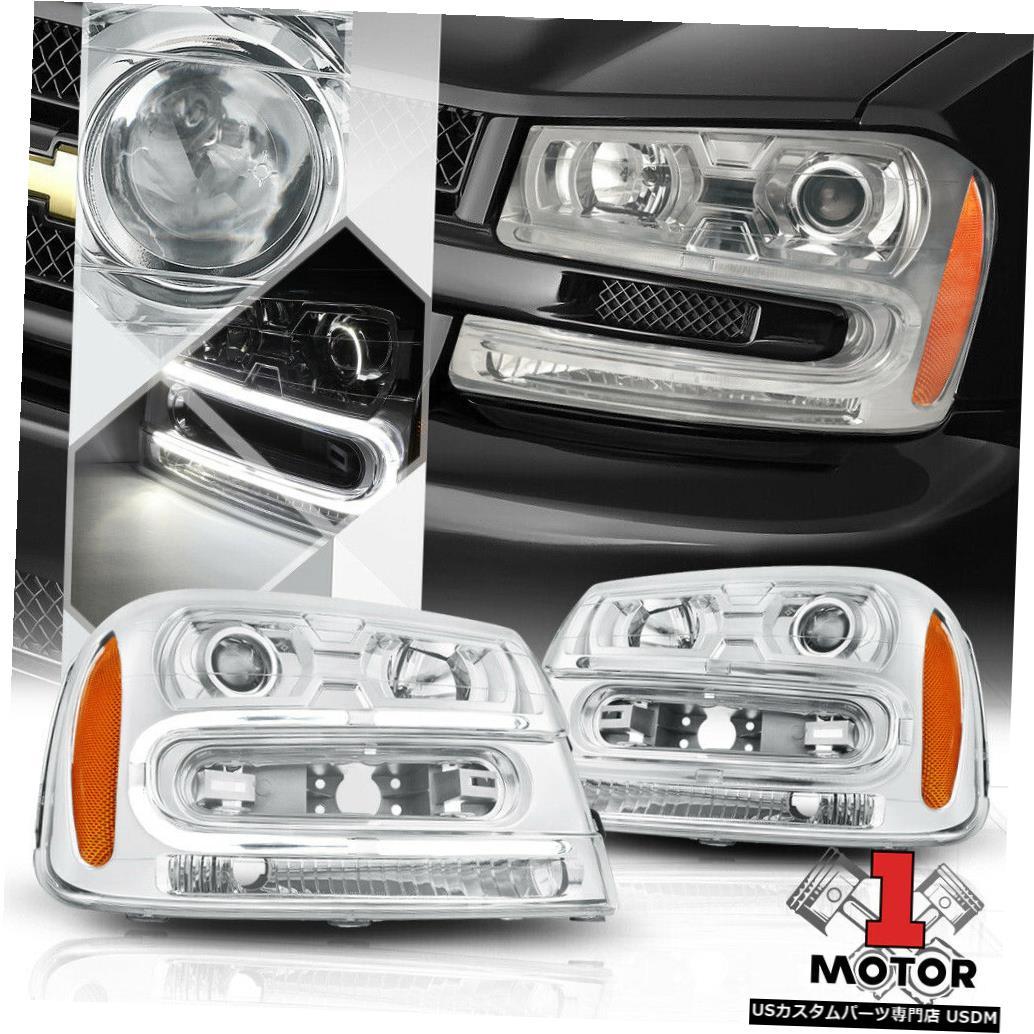 ヘッドライト 02-09トレイルブレイザー用クロームハウジングプロジェクターヘッドライトLED DRLアンバーリフレクター Chrome Housing Projector Headlight LED DRL Amber Reflector for 02-09 Trailblazer