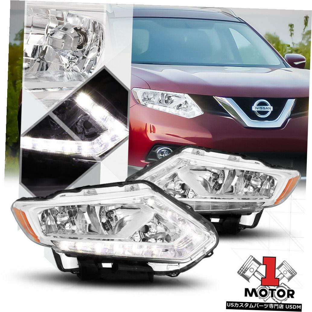 ヘッドライト 14-16日産ローグのクロームハウジングヘッドライトLEDストリップDRLアンバーターンシグナル Chrome Housing Headlight LED Strip DRL Amber Turn Signal for 14-16 Nissan Rogue
