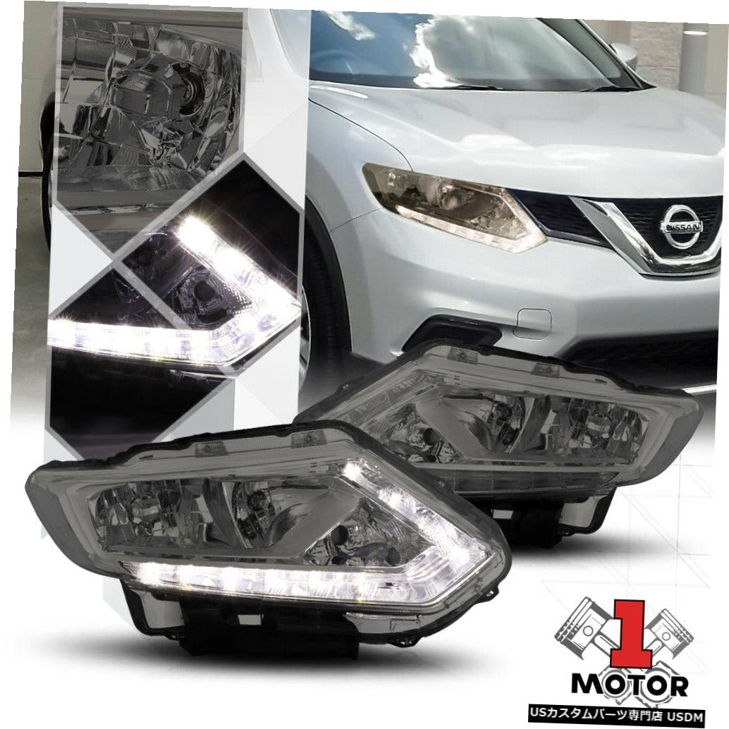 ヘッドライト 14-16日産ローグ用スモークティンテッドヘッドライトLEDストリップDRLクリアウインカー Smoke Tinted Headlight LED Strip DRL Clear Turn Signal for 14-16 Nissan Rogue