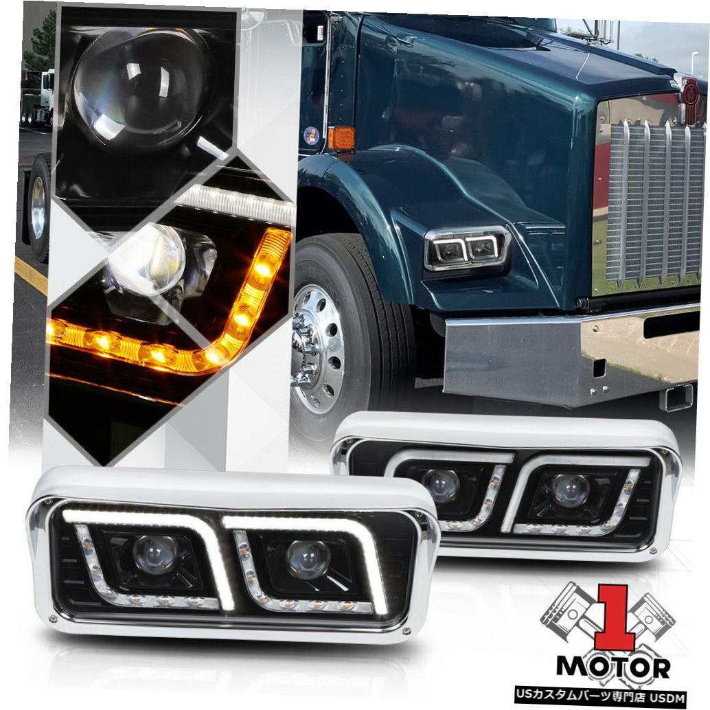 ヘッドライト 81-19ケンワースT600A / W900ピータービルト用ブラックプロジェクターヘッドライト[DUAL LED DRL] Black Projector Headlight [DUAL LED DRL] for 81-19 Kenworth T600A/W900 Peterbilt