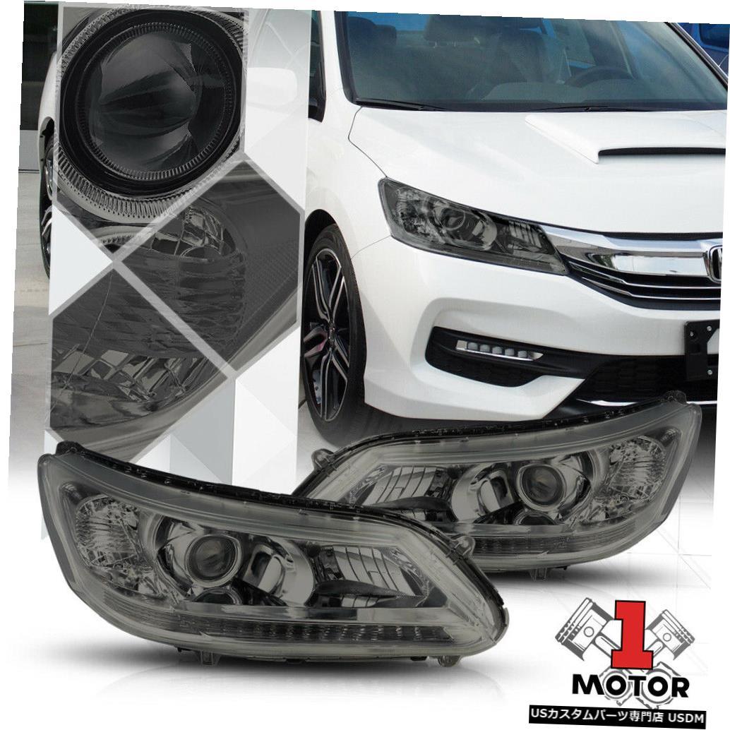 ヘッドライト 13-15ホンダアコードセダン用スモークプロジェクターヘッドライトクリアコーナーターンシグナル Smoke Projector Headlight Clear Corner Turn Signal for 13-15 Honda Accord Sedan