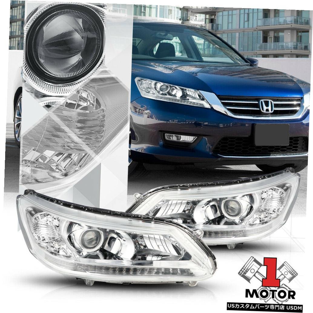 ヘッドライト 13-15ホンダアコードセダン用クロームプロジェクターヘッドライトクリアコーナーターンシグナル Chrome Projector Headlight Clear Corner Turn Signal for 13-15 Honda Accord Sedan