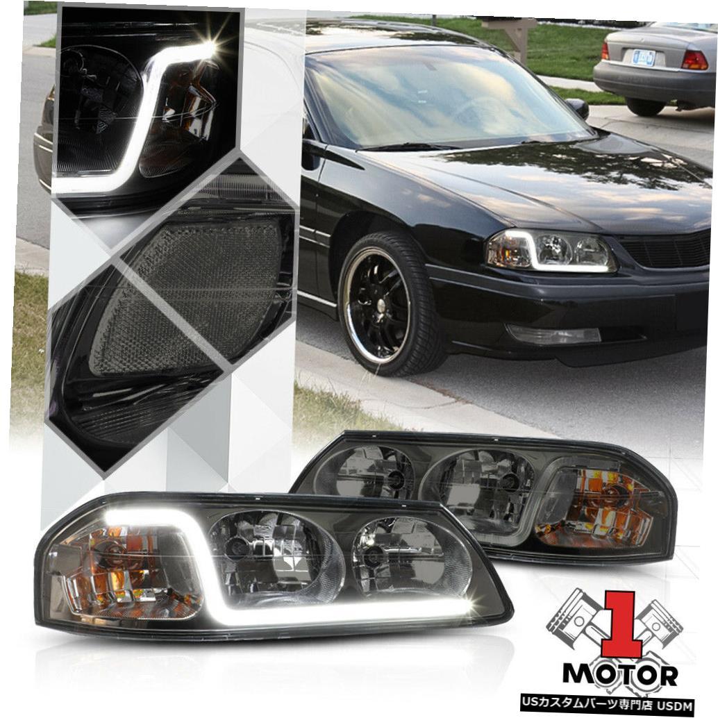 ヘッドライト 00-05シボレーインパラの煙着色ヘッドライトランプLEDストリップDRLクリア信号 Smoke Tinted Headlight Lamp LED Strip DRL Clear Signal for 00-05 Chevy Impala