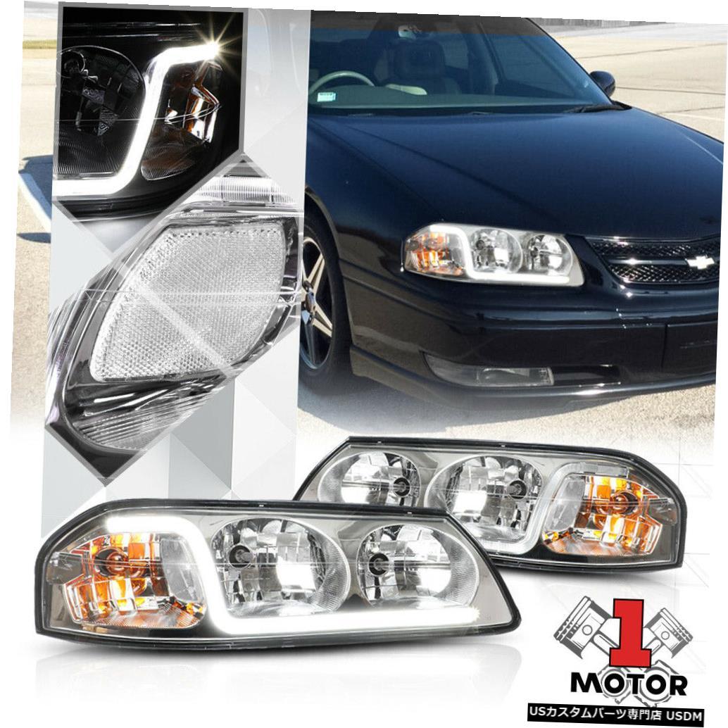 ヘッドライト クロムハウジングヘッドライトランプLEDストリップDRLクリアシグナル00-05シボレーインパラ Chrome Housing Headlight Lamp LED Strip DRL Clear Signal for 00-05 Chevy Impala