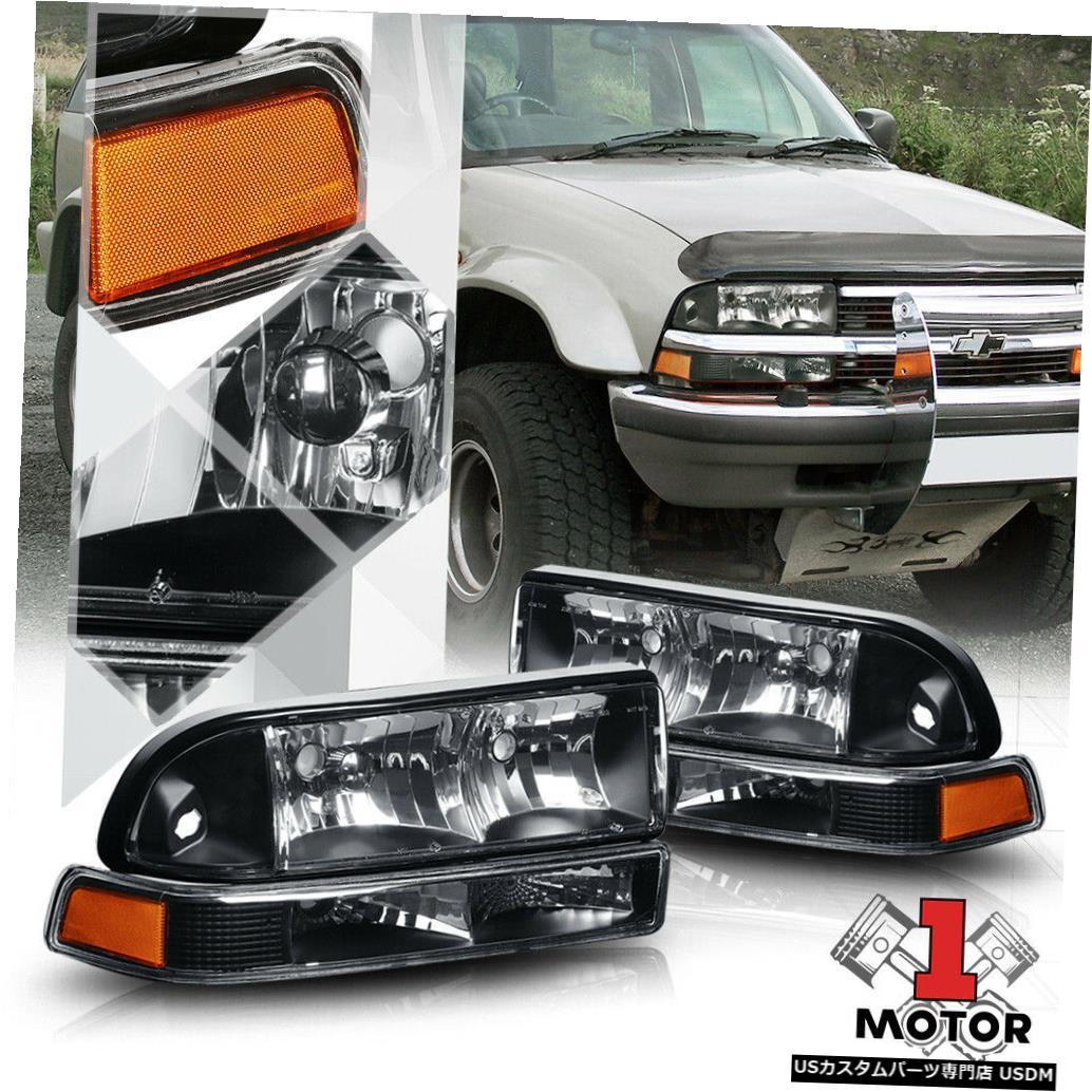ヘッドライト 98-04シボレーS10 /ブレザー用ブラックハウジングヘッドライトアンバーシグナルリフレクターバンパー Black Housing Headlight Amber Signal Reflector Bumper for 98-04 Chevy S10/Blazer