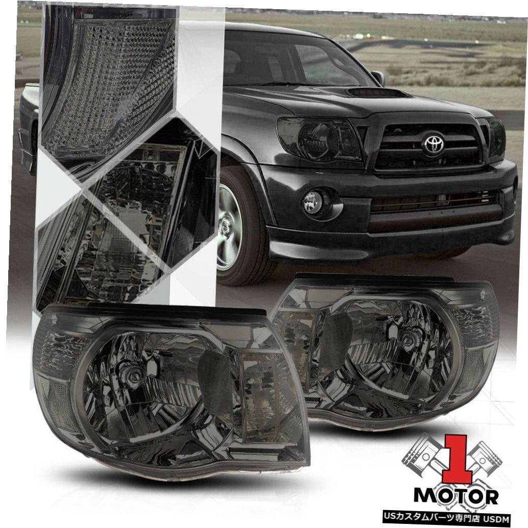 ヘッドライト 05-11トヨタタコマ用スモークティンテッドヘッドライトランプクリアターンシグナルリフレクター Smoke Tinted Headlight Lamp Clear Turn Signal Reflector for 05-11 Toyota Tacoma