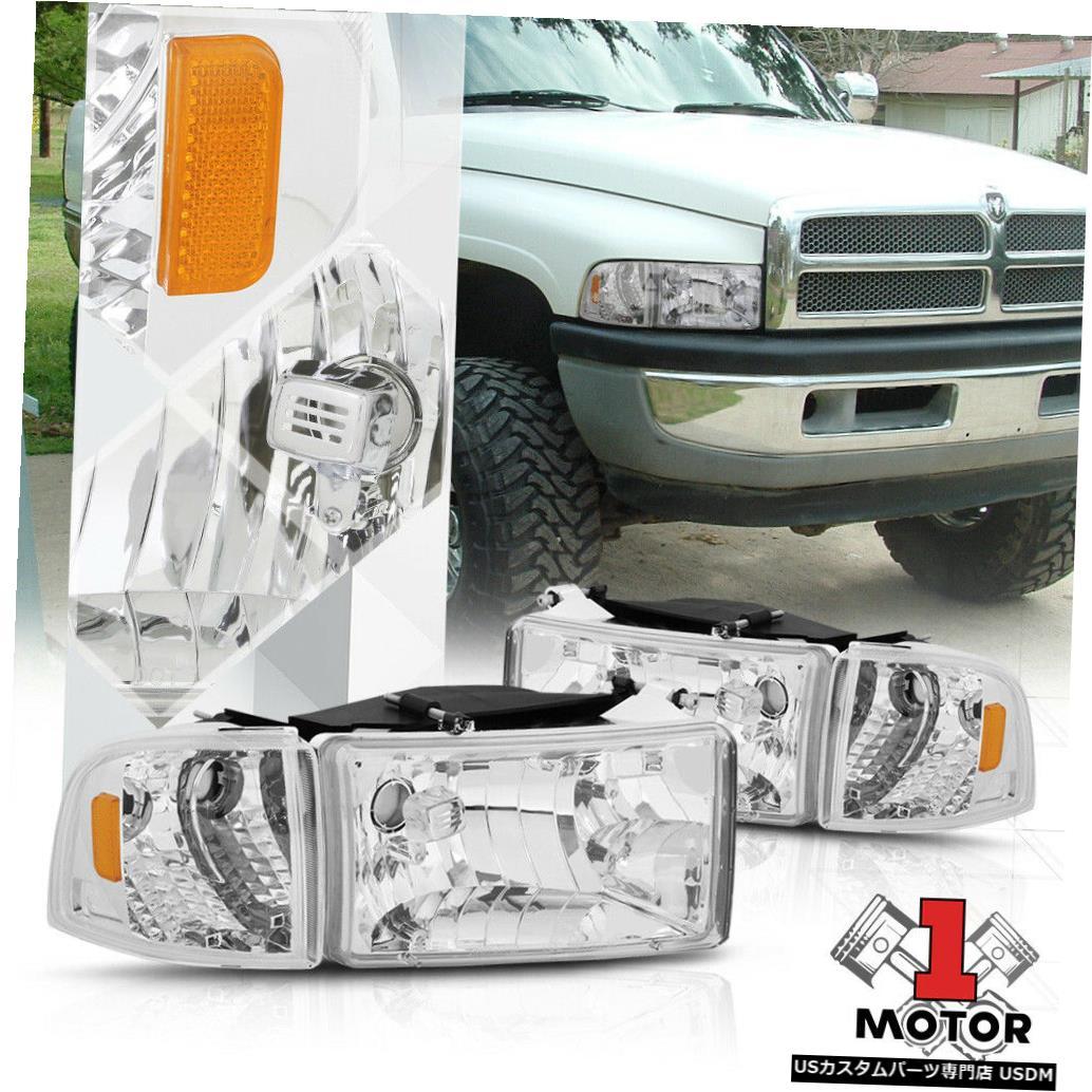 ヘッドライト 94-02ダッジラム用クロームハウジングヘッドライトアンバーコーナーターンシグナルリフレクター Chrome Housing Headlight Amber Corner Turn Signal Reflector for 94-02 Dodge Ram