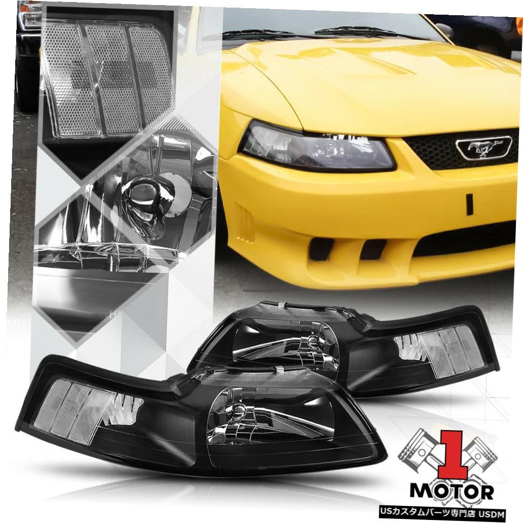 ヘッドライト 99-04フォードマスタング用ブラックハウジングヘッドライトクリアコーナーシグナルリフレクター Black Housing Headlight Clear Corner Signal Reflector for 99-04 Ford Mustang