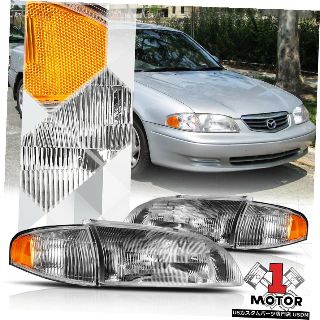 ヘッドライト 98-99マツダ626用クロームハウジングヘッドライトランプアンバーターンシグナルリフレクター Chrome Housing Headlight Lamp Amber Turn Signal Reflector for 98-99 Mazda 626