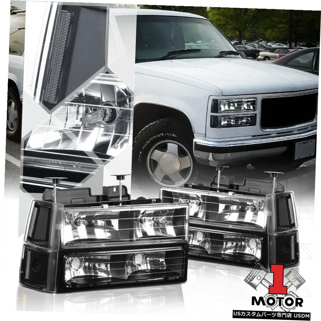 ヘッドライト 94-00 GMC C10 GMT400 C / K CK用ブラックハウジングヘッドライトクリアウインカー+バンパー Black Housing Headlight Clear Turn Signal+Bumper for 94-00 GMC C10 GMT400 C/K CK